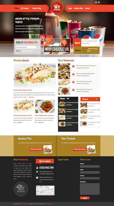 bt restaurant joomla template for hotel coffee shop owners