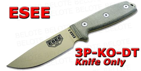 Swiss Army Hardmika Dt esee model 3 desert blade plain edge linen micarta handle 3p ko dt new ebay