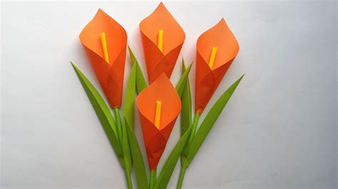 How To Make A Easy Flower Out Of Paper - diy how to make calla paper flower easy
