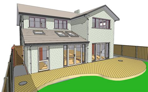 lapworth house extension as proposed rear homeplan designs