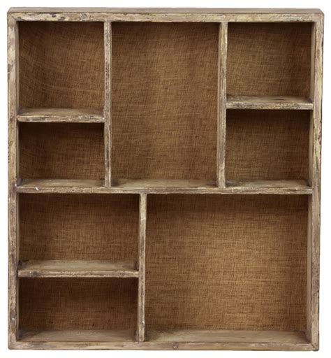wooden wall display shelves wood wall shelf with 8 shelves and burlap backing