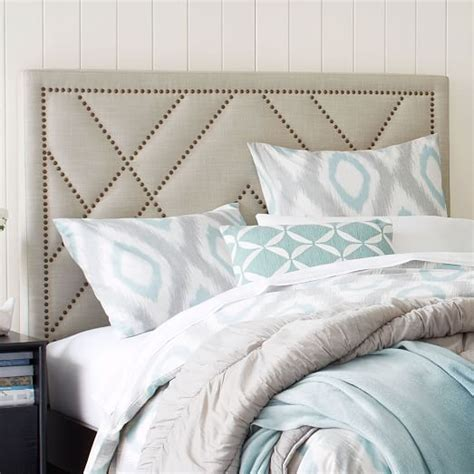 patterned nailhead headboard upholstered west elm
