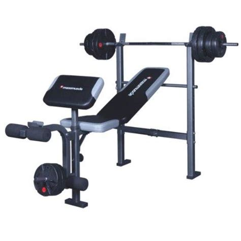 maximuscle weights bench and bar with 35 kg weights can