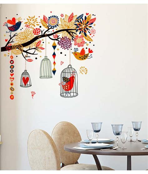 Wall Sticker Ay9006 60x90 stickerskart multicolor branch with colourful decorative elements living room decal birds