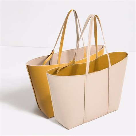 New Zara Tote nwt zara reversible tote shopper bag handbag beige yellow fav ebay