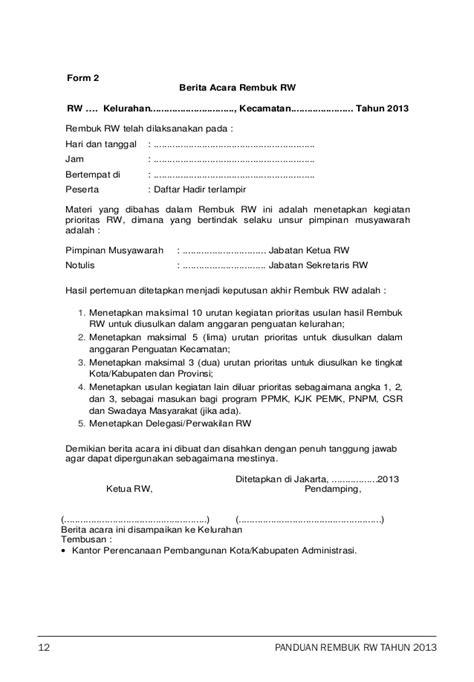 Agenda Surat Dan Notulis Surat by Buku Panduan Rembuk Rw 2013