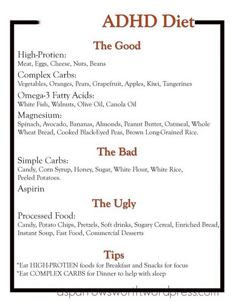 adhd diet template 1 food is the best medicine