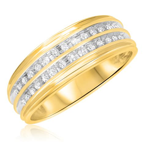 the numbers wedding band 1 carat t w trio matching wedding ring set 14k yellow gold my trio rings bt502y14k