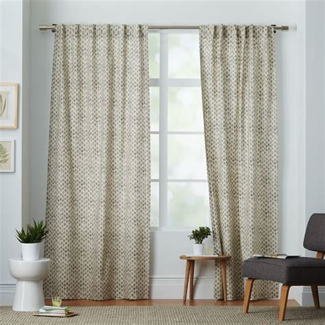 west elm curtain panels cotton canvas sted dots curtain platinum west elm