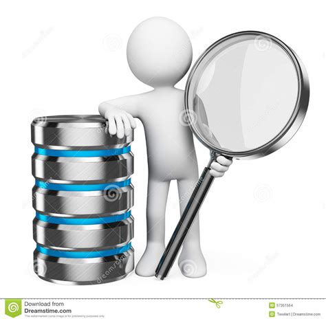 Finder Database 3d White Search In Database Concept Stock Illustration Illustration 57351564