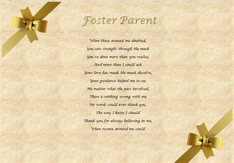 thank you letter to foster foster parent personalised poem laminated gift ebay