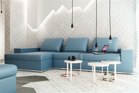 l for room blue l shaped sofa exposed bulb lighting feature
