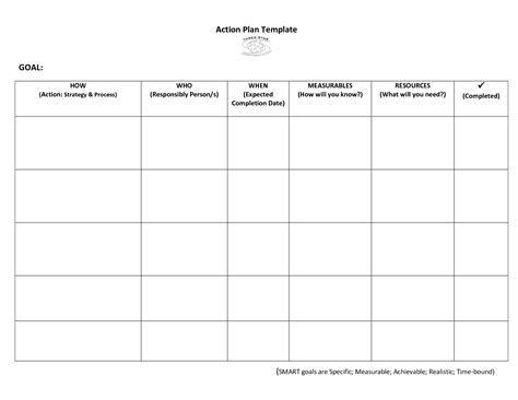very simple action plan template word exle with goal