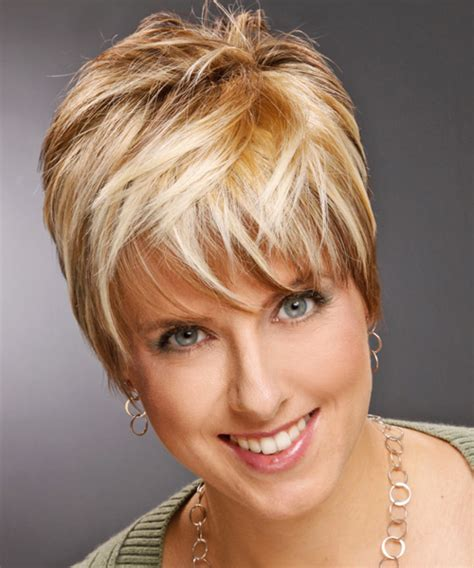 blonde and copper hairstyles short straight casual hairstyle with layered bangs