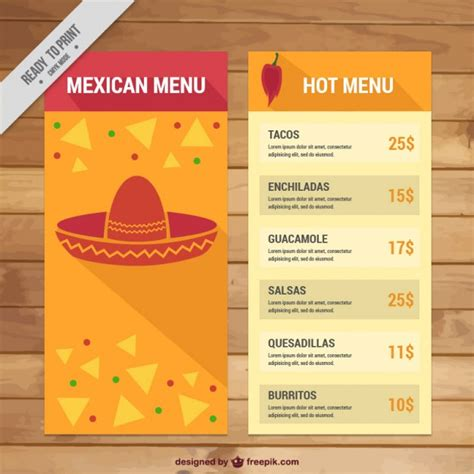 mexican menu template with nachos vector free