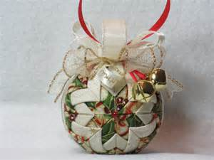 quilted christmas ornament no sew green gold and beige