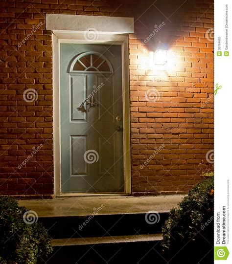 Home Entrance At Night Royalty Free Stock Photo Image Front Door Light Timer