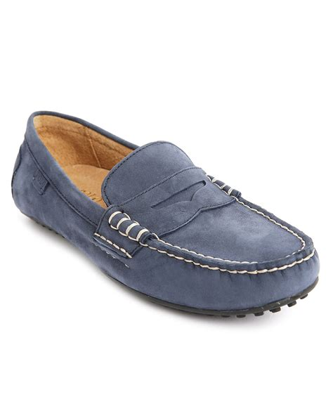 blue loafers polo ralph navy newport nubuck wes loafers in blue
