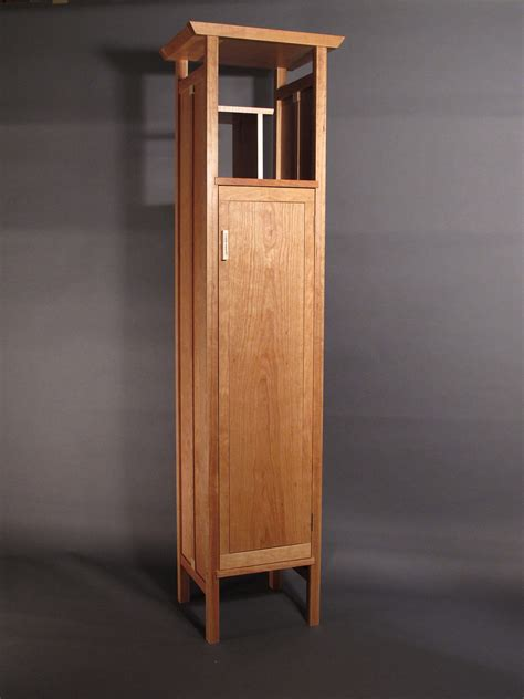 tall narrow armoire cabinet in cherry handmade custom wood