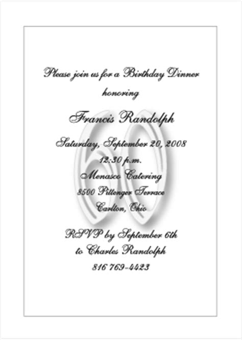 Formal Birthday Quotes Planning 60th Birthday Party Party Invitations Ideas
