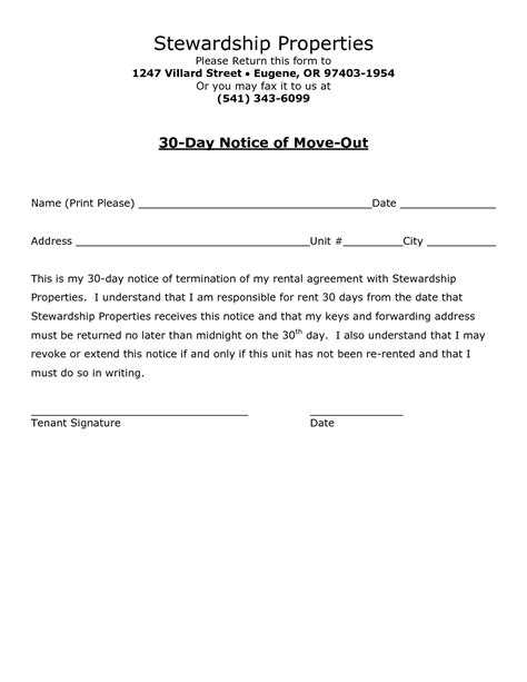 Move Out Notice Template best photos of sle 30 day notice form 30 day notice