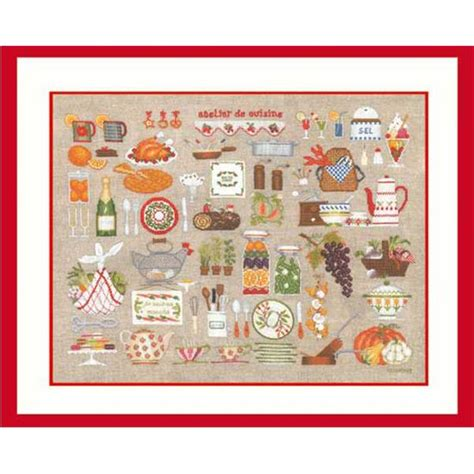 broderie cuisine kit broderie point de croix atelier cuisine le bonheur des