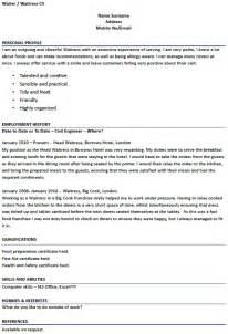 waiter resume sles 98 server resume skills exles sle resume waiter