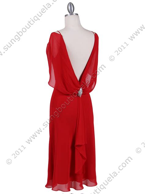 draped evening dress red draped back cocktail dress sung boutique l a