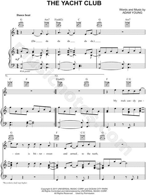 yacht club lyrics owl city quot the yacht club quot sheet music in c major