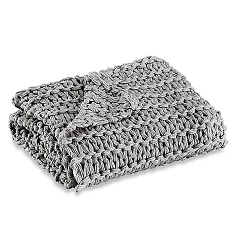 chunky knit grey throw kenneth cole reaction home chunky knit throw in grey bed