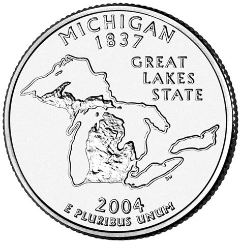 Michigan The 26th State by Made In Us Michigan 25 162 Mi Quarter Cut Coin Necklace Great