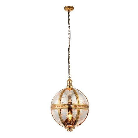 Single Pendant Lights Endon Lighting Vienna Single Light Large Ceiling Pendant In Brass And Mercury Glass Lighting