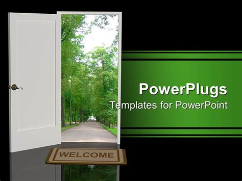 Powerpoint Template A White Open Door With A Foot Mat Welcome Templates For Ppt