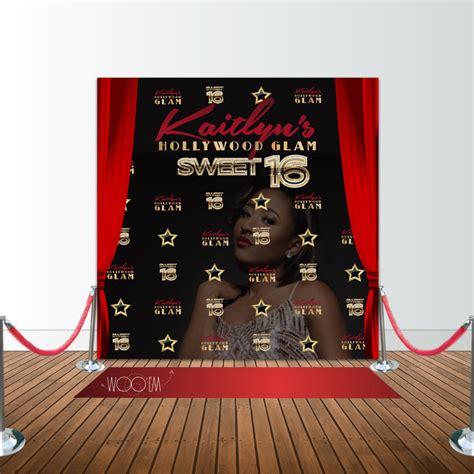 backdrop design sweet 17 hollywood glam sweet 16 birthday 8x8 backdrop step