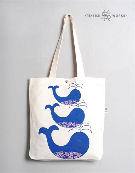 Handmade Fabric Tote Bags - three whales tote bag handmade fabric bag with whale