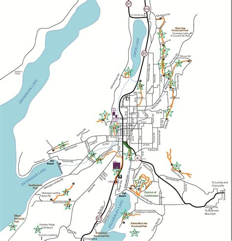 printable map kelowna trails maps of vernon area ribbons of green trails