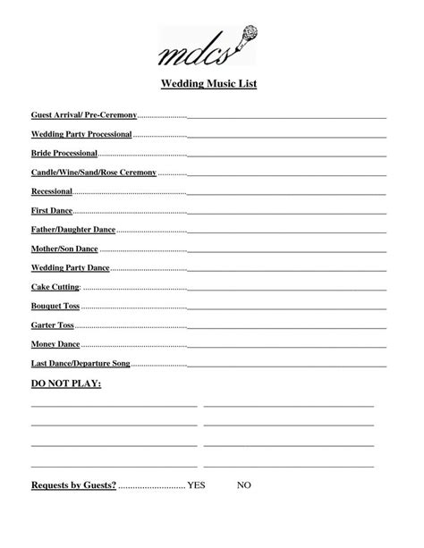 Wedding Song Checklist by Search Results For Free Printable Wedding List