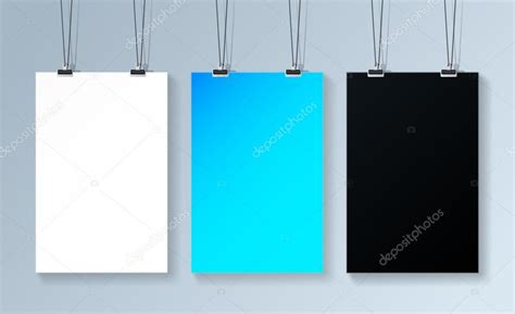 hanging poster stock illustration image 55507025 three poster mockup hanging on the wall three posters