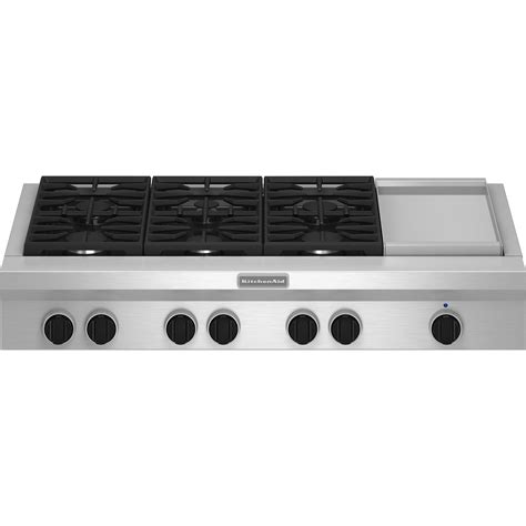 Gas Griddle Cooktop kitchenaid kgcu483vss pro style 174 48 quot gas cooktop plus griddle sears outlet