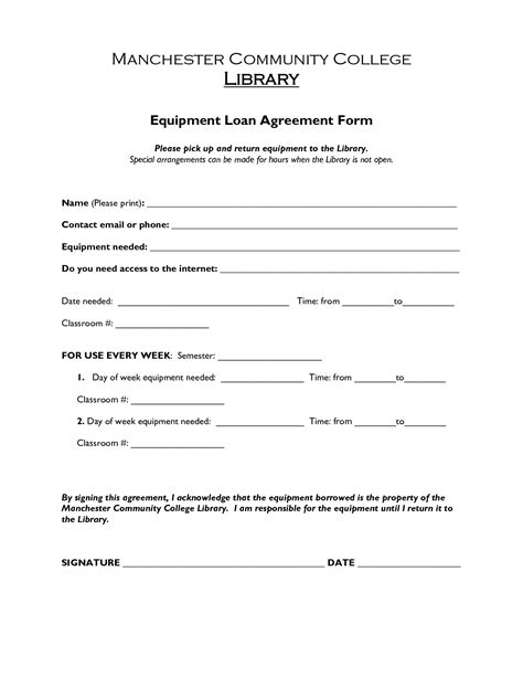 Free Printable Loan Agreement Form Form Generic Equipment Loan Agreement Template Uk