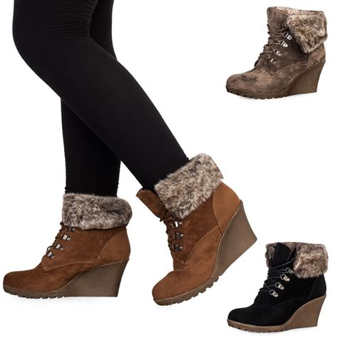 womens faux fur boots womens faux suede lace up faux fur wedge heel ankle