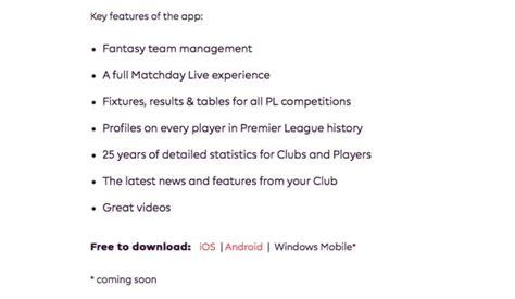 premier league mobile app premier league app windows mobile release delay product