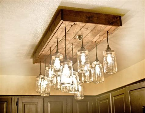 Mason Jar Wood Pallet Chandelier ? iD Lights