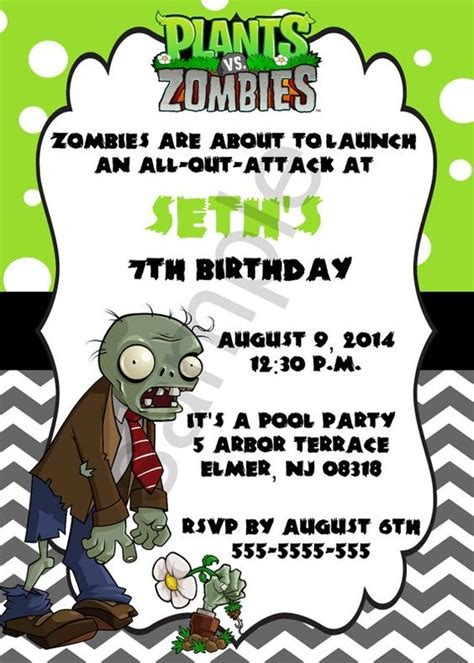 plants vs zombies invitation template the world s catalog of ideas