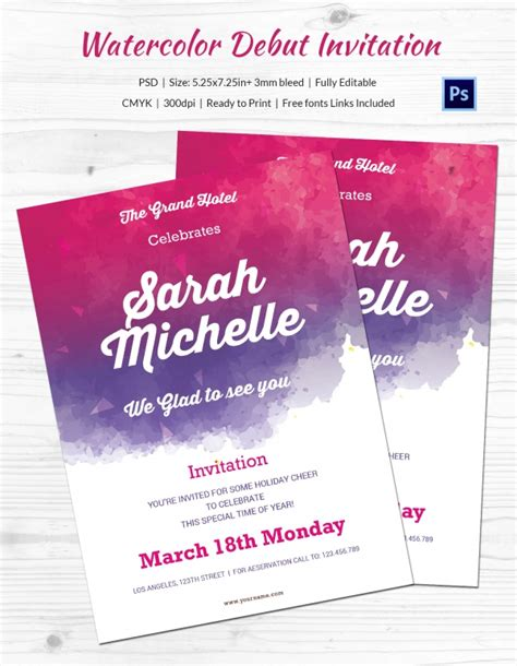 Invitation Letter Exle For Debut Debut Invitation Template 26 Free Word Pdf Psd Format Free Premium Templates