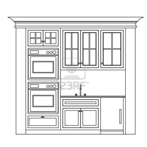 Kitchen Cabinet Drawing Kitchen Cabinet Design Drawing Kitchen Elevation Line Drawing Cabinets Drawers Appliances