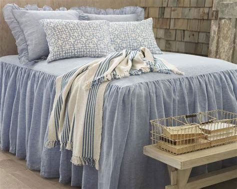 chambray bedding pine cone hill savannah linen chambray french blue