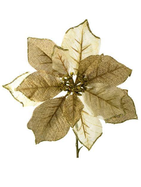 gold ivory organza poinsettia decorative pick 26cm