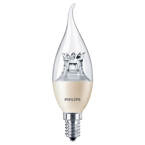 philips led candle bent tip 6w ses clear warm white dimmable