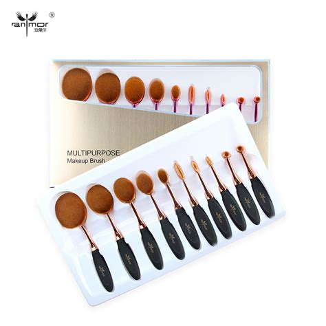10 Pcs Oval Makeup Brush Set Preorder new arrival oval makeup brushes 10 pcs makeup brush set multipurpose powder eyeliner eyebrow